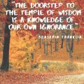 """""""The doorstep to the temple of wisdom is a knowledge of our own ignorance."""" Benjamin Franklin"""