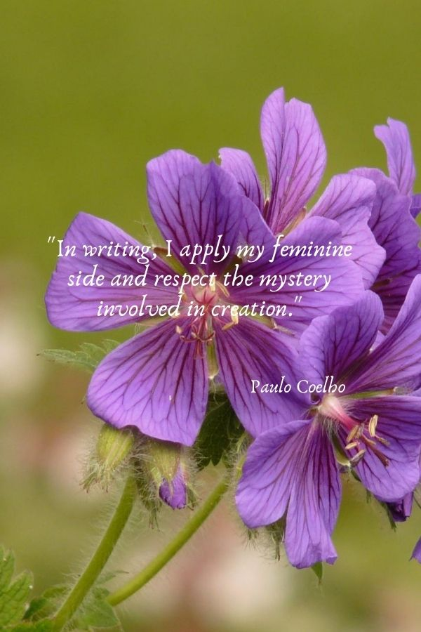 """""""In writing, I apply my feminine side and respect the mystery involved in creation.""""  Paulo Coelho"""