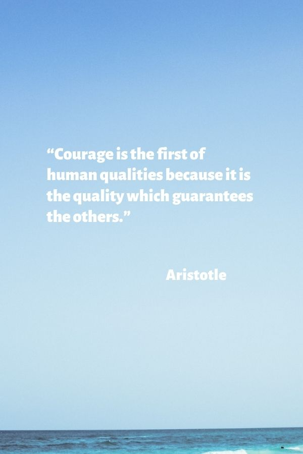 """""""Courage is the first of human qualities because it is the quality which guarantees the others.""""  Aristotle"""