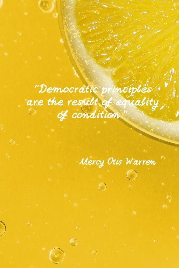 """""""Democratic principles are the result of equality of condition.""""  Mercy Otis Warren"""