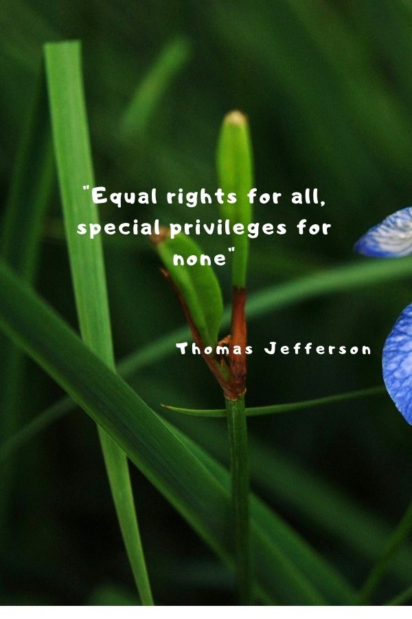 """""""Equal rights for all, special privileges for none""""  Thomas Jefferson"""