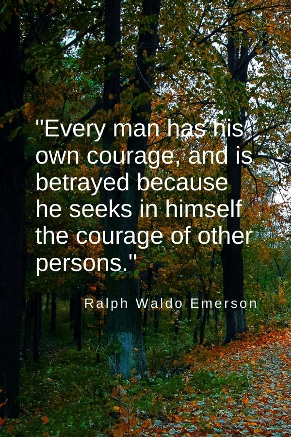 """""""Every man has his own courage, and is betrayed because he seeks in himself the courage of other persons.""""  Ralph Waldo Emerson"""