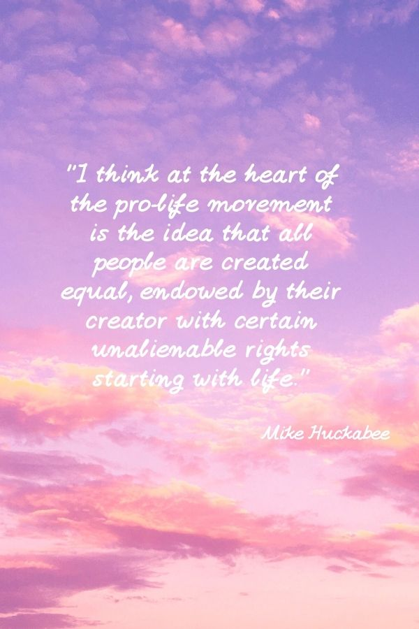 """""""I think at the heart of the pro-life movement is the idea that all people are created equal, endowed by their creator with certain unalienable rights starting with life.""""  Mike Huckabee"""