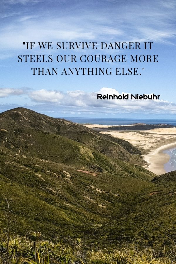 """""""If we survive danger it steels our courage more than anything else.""""  Reinhold Niebuhr"""