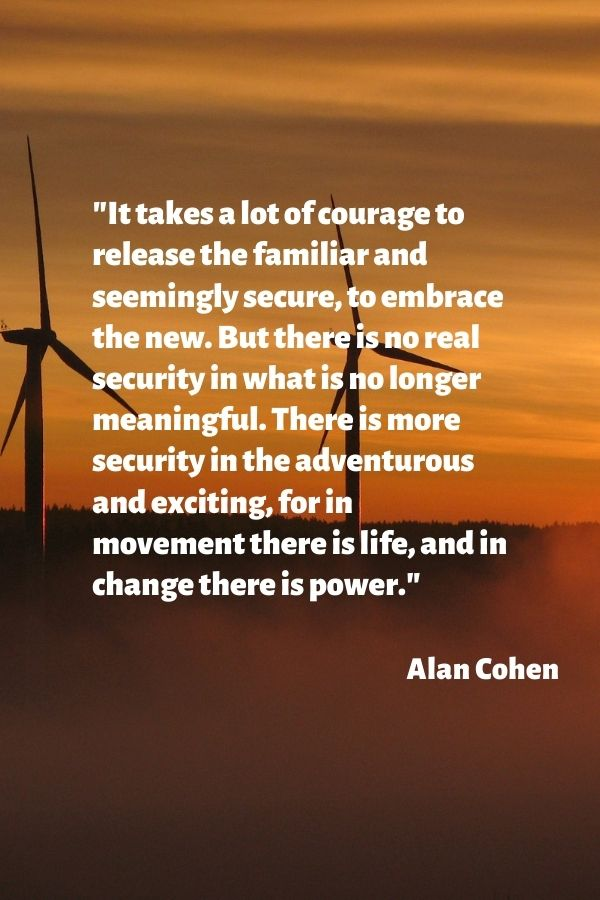"""""""It takes a lot of courage to release the familiar and seemingly secure, to embrace the new. But there is no real security in what is no longer meaningful. There is more security in the adventurous and exciting, for in movement there is life, and in change there is power.""""  Alan Cohen"""