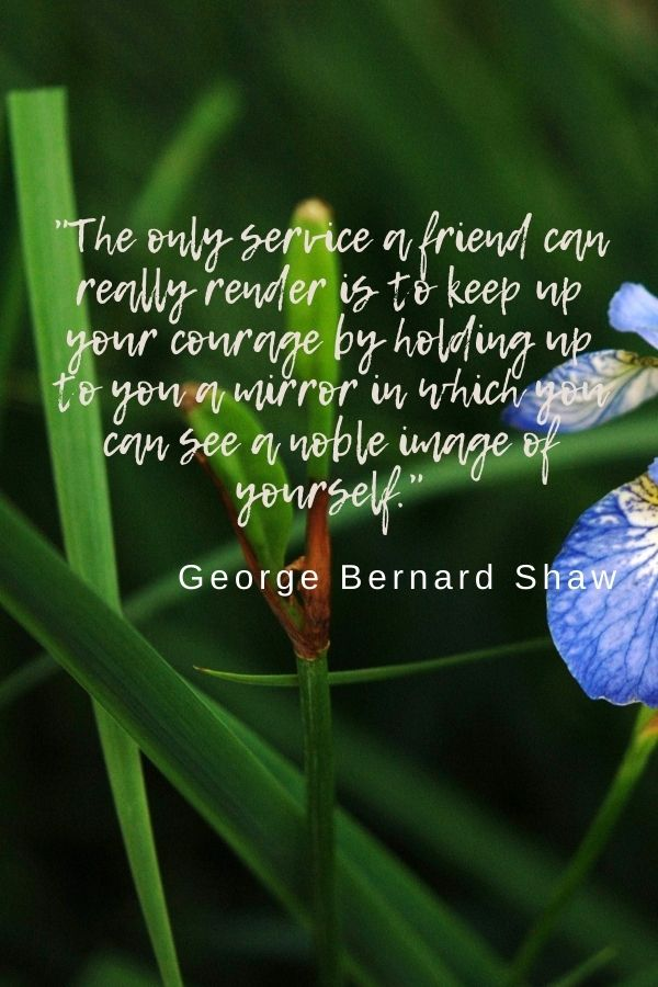 """""""The only service a friend can really render is to keep up your courage by holding up to you a mirror in which you can see a noble image of yourself.""""  George Bernard Shaw"""