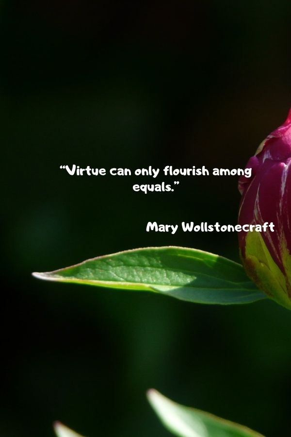"""""""Virtue can only flourish among equals.""""  Mary Wollstonecraft"""