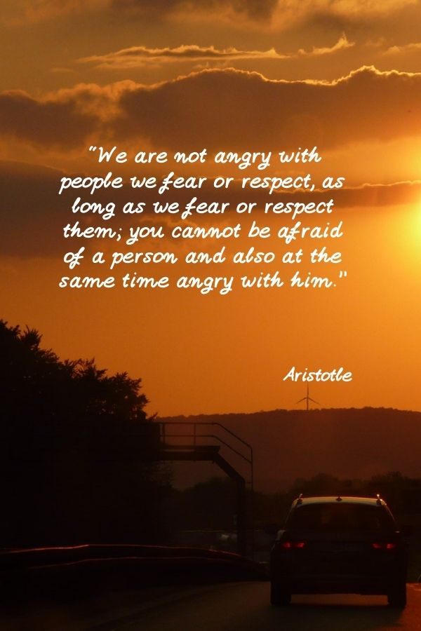 """""""We are not angry with people we fear or respect, as long as we fear or respect them; you cannot be afraid of a person and also at the same time angry with him.""""  Aristotle"""