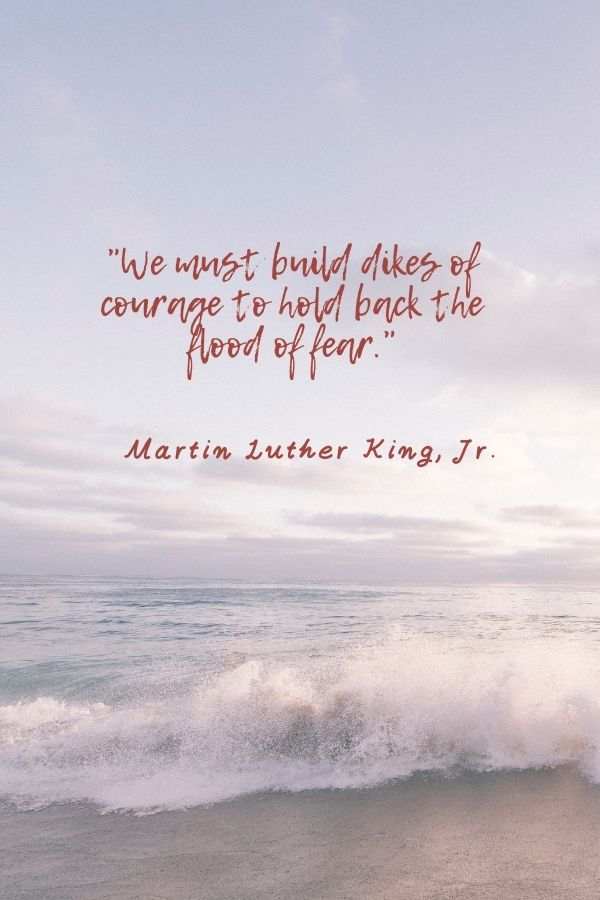 """""""We must build dikes of courage to hold back the flood of fear.""""  Martin Luther King, Jr."""