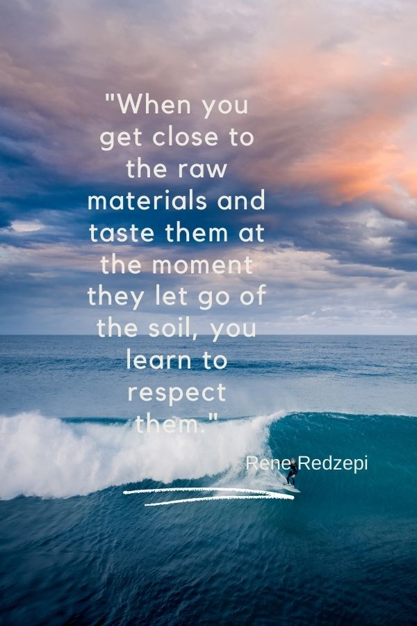 """""""When you get close to the raw materials and taste them at the moment they let go of the soil, you learn to respect them.""""  Rene Redzepi"""