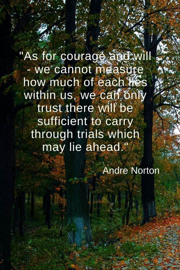 """""""As for courage and will - we cannot measure how much of each lies within us, we can only trust there will be sufficient to carry through trials which may lie ahead.""""  Andre Norton"""