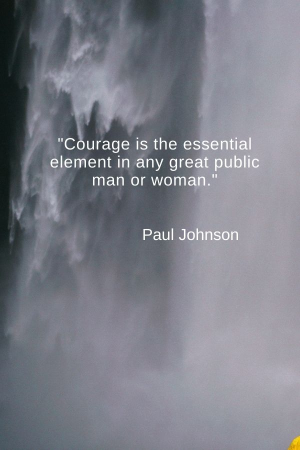 """""""Courage is the essential element in any great public man or woman.""""  Paul Johnson"""