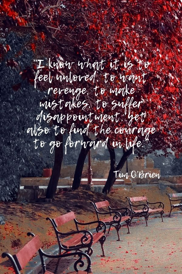 """""""I know what it is to feel unloved, to want revenge, to make mistakes, to suffer disappointment, yet also to find the courage to go forward in life.""""  Tim O'Brien"""