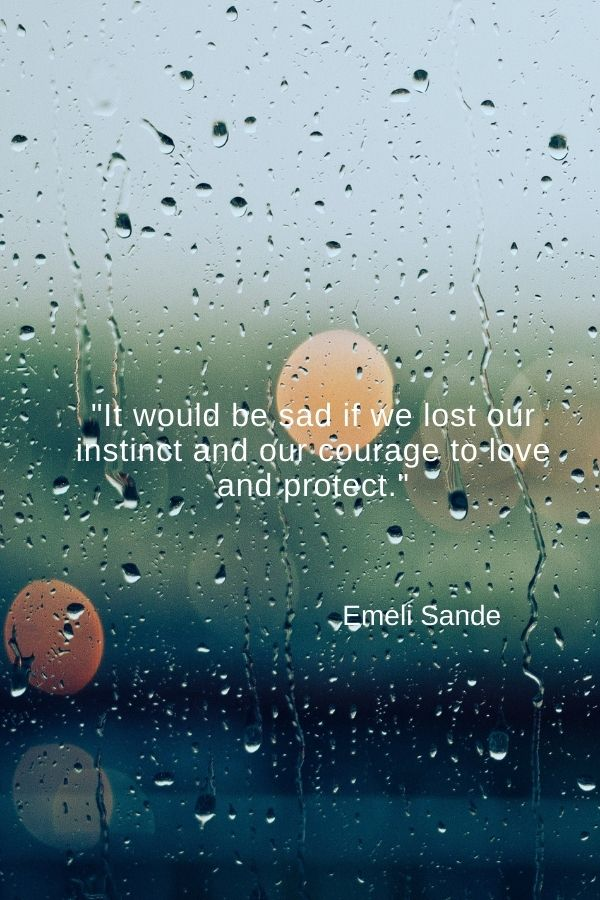 """It would be sad if we lost our instinct and our courage to love and protect.""  Emeli Sande"