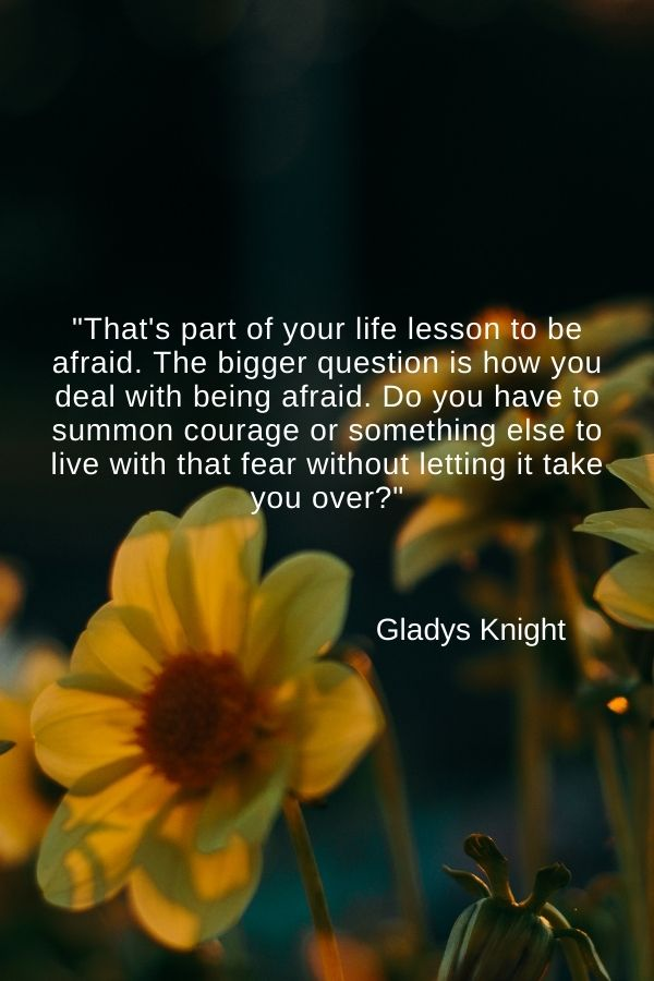 """That's part of your life lesson to be afraid. The bigger question is how you deal with being afraid. Do you have to summon courage or something else to live with that fear without letting it take you over?""  Gladys Knight"