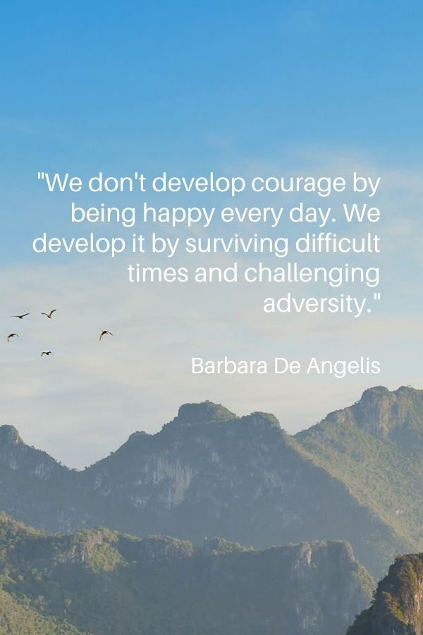 """""""We don't develop courage by being happy every day. We develop it by surviving difficult times and challenging adversity.""""  Barbara De Angelis"""