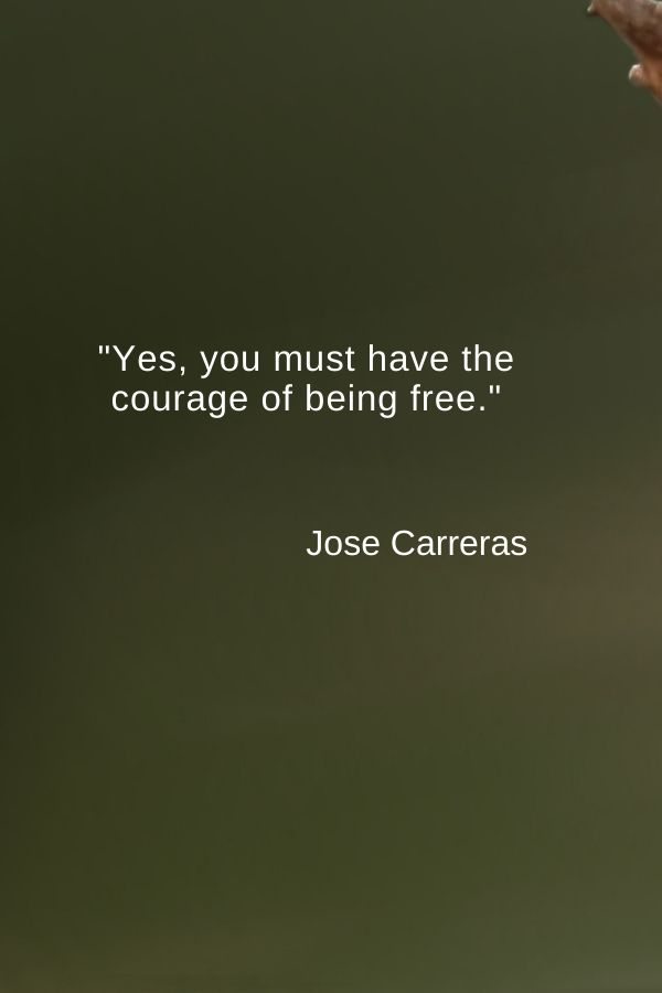 """Yes, you must have the courage of being free.""  Jose Carreras"