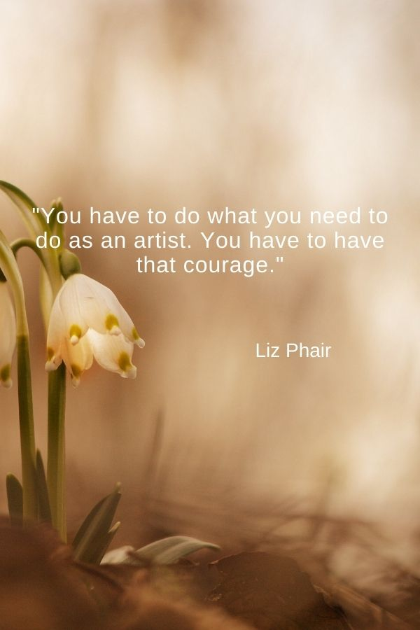"""""""You have to do what you need to do as an artist. You have to have that courage.""""  Liz Phair"""