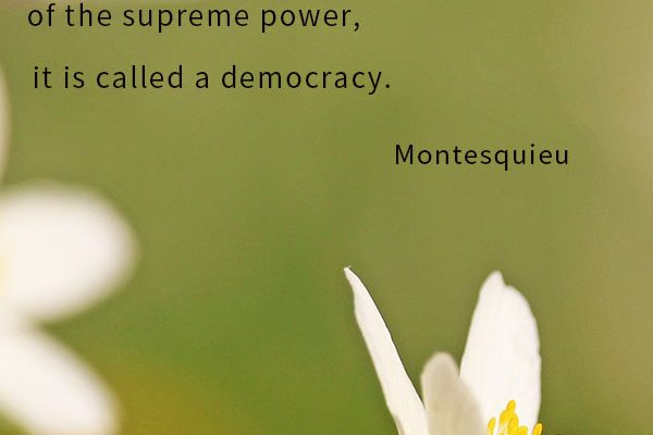 When the body of the people is possessed of the supreme power, it is called a democracy.